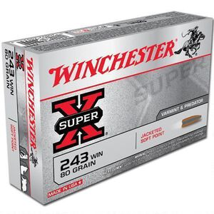 Winchester Super X .243 Win Ammunition 20 Rounds, JSP, 80 Grains