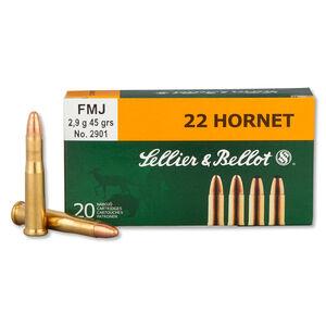 Sellier & Bellot .22 Hornet Ammunition 20 Rounds, FMJ, 45 Grains