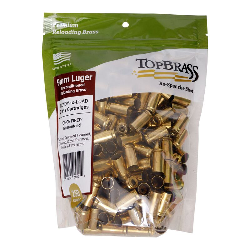 Top Brass 9mm Luger Reconditioned Brass 250 Count Bag
