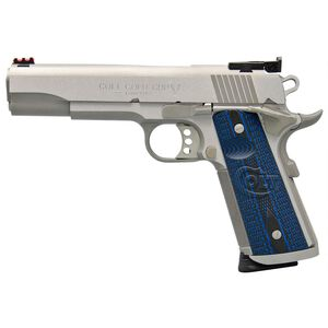 "Colt 1911 Gold Cup Trophy Semi Auto Pistol 9mm Luger 5"" National Match Barrel 9 Rounds Fiber Optic Front Sight/Bomar Style Rear Sight Colt G10 Grips Brushed Stainless Steel"
