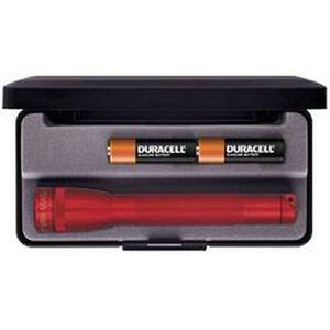 Maglite Mini Mag Flashlight 9 Lumen 2x AAA Battery Aluminum Body Red Finish Presentation Box M3A032