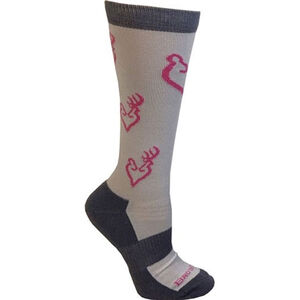 Browning Ladies Heartland Calf Socks Size 6-10 Polyester Blend Calf Height Medium Grey, Black with Blue Buckheart