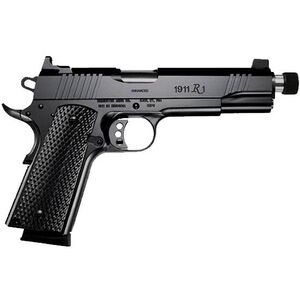 "Remington Model 1911 R1 Enhanced Semi Auto Handgun .45 ACP 5.5"" Stainless Threaded Barrel Barrel .578-28 TPI 8 Rounds Tall Sights Wood Grips Black Finish 96339"