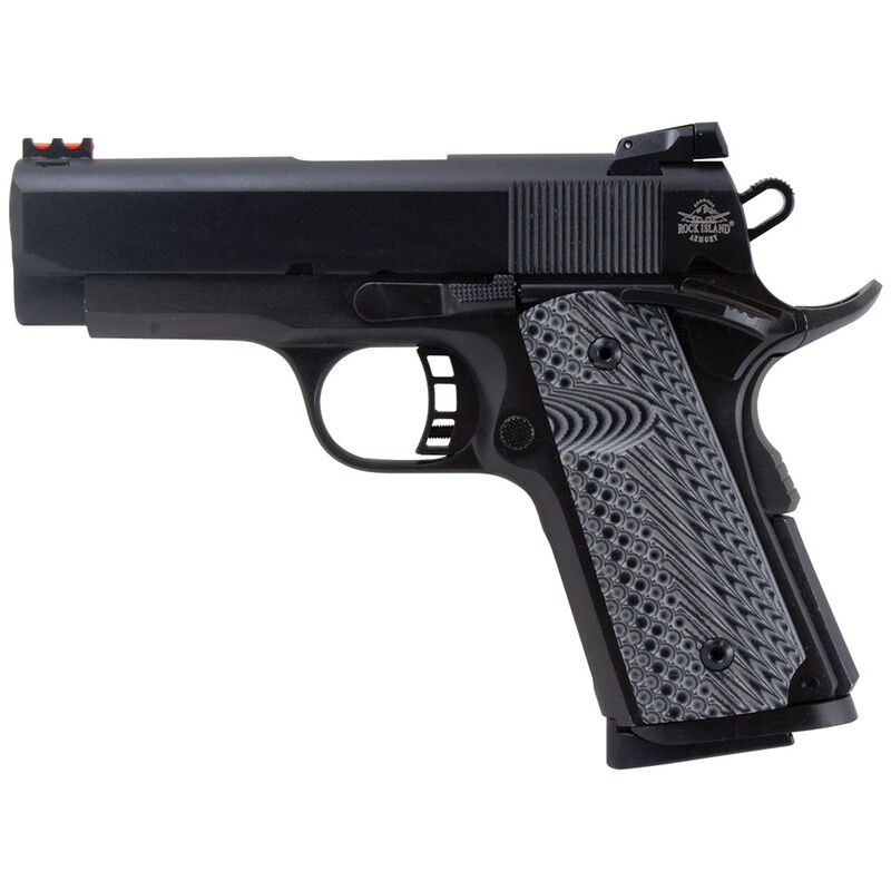 "Rock Island Armory 1911 Tactical II Compact Semi Auto Handgun .45 ACP 3.5"" Barrel 7 Rounds Checkered Black G-10 Grips Fiber Optic Front Sight Adjustable Rear Sight Steel Parkerized 51479"