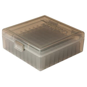 Berry's Manufacturing 003 .38/.357 Caliber 100 Round Plastic Ammunition Storage Box Stronger Snap/Hinge Design Translucent Smoke