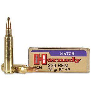 Hornady Match .223 Remington Ammunition 20 Rounds BTHP 75 Grains 8026