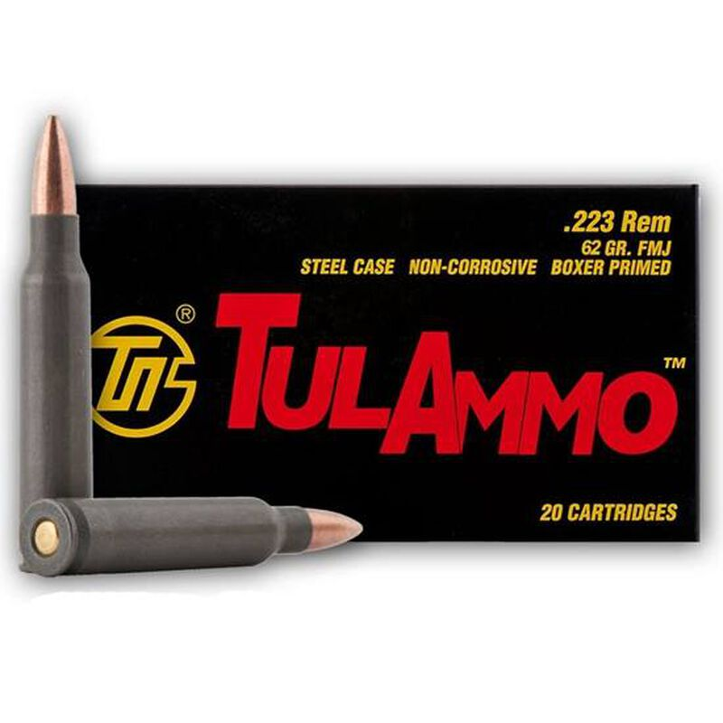 TulAmmo .223 Remington Ammunition 20 Rounds Steel Case FMJ 62 Grains TA223620