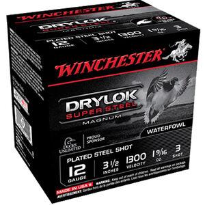 """Winchester Drylok Super Steel 12 Gauge Ammunition 25 Round Box 3-1/2"""" #3 Plated Steel Shot 1-9/16 oz 1300 fps"""