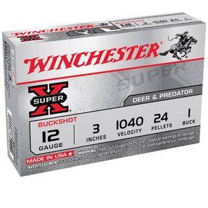 Ammo 12 Gauge Winchester Super X#1 Buck 5 Round Box Magnum