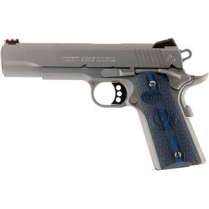 """Colt Competition 1911 Series 70 Government Model Semi Auto Pistol .38 Super 5"""" Barrel 9 Rounds Fiber Front Sight Novak Rear Sight G10 Grips Brushed Stainless Finish"""