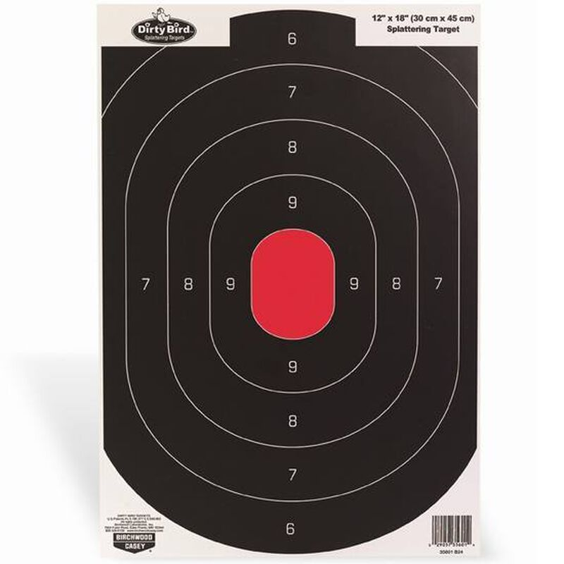 "Birchwood Casey Dirty Bird 12""x18"" Silhouette Paper Target White Splatter Indoor/Outdoor 50 Pack 35609"