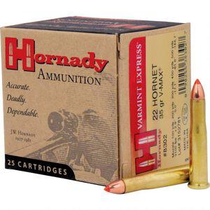 Hornady Varmint Express .22 Hornet Ammunition 25 Rounds 35 Grain Hornady V-Max Polymer Tip Projectile 3100fps