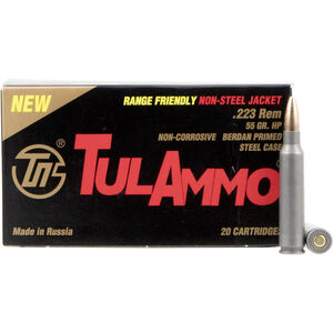 TulAmmo Range Friendly .223 Remington Ammunition 20 Rounds 55 Grain Hollow Point Brass Jacket Bullet Steel Cased 2,953fps