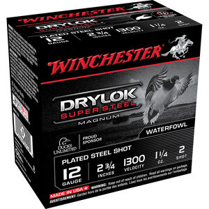 """Winchester Drylok Super Steel 12 Gauge Ammunition 25 Round Box 2-3/4"""" #2 Plated Steel Shot 1-1/4 oz 1300 fps"""