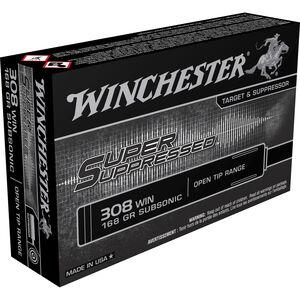Winchester Super Suppressed .308 Win Ammunition 168 Grain Open Tip Range Bullet Subsonic 1