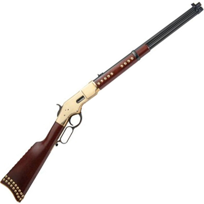 """Cimarron Firearms 1866 Yellowboy Pawnee Carbine Lever Action Rifle .45 LC 19"""" Round Barrel 10 Rounds Brasslite Receiver Walnut Stock with Brass Accents Blued Finish"""