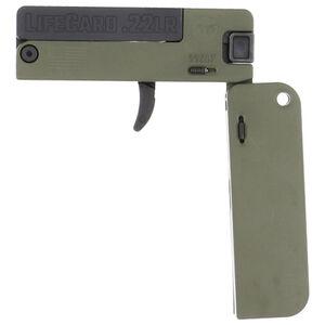 Trailblazer LifeCard .22LR Folding Single Shot Pistol 1 Round with 3 Round Ammo Storage Steel Barrel Bolt and Trigger Aluminum Frame OD Green Finish