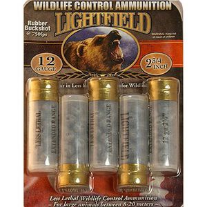 "Lightfield Wildlife Ctrl 12ga 2-3/4"" Rubber Buckshot 700fps 5rds"