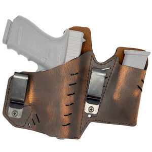 Versacarry Element IWB Holster with Magazine Pouch Size 3 Most Sub Compact Pistols Right Hand Leather Distressed Brown