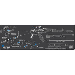 "Cerus Gear AK-47 Instructional ProMat Rifle Size 12""x36"" Synthetic Grey/Blue"
