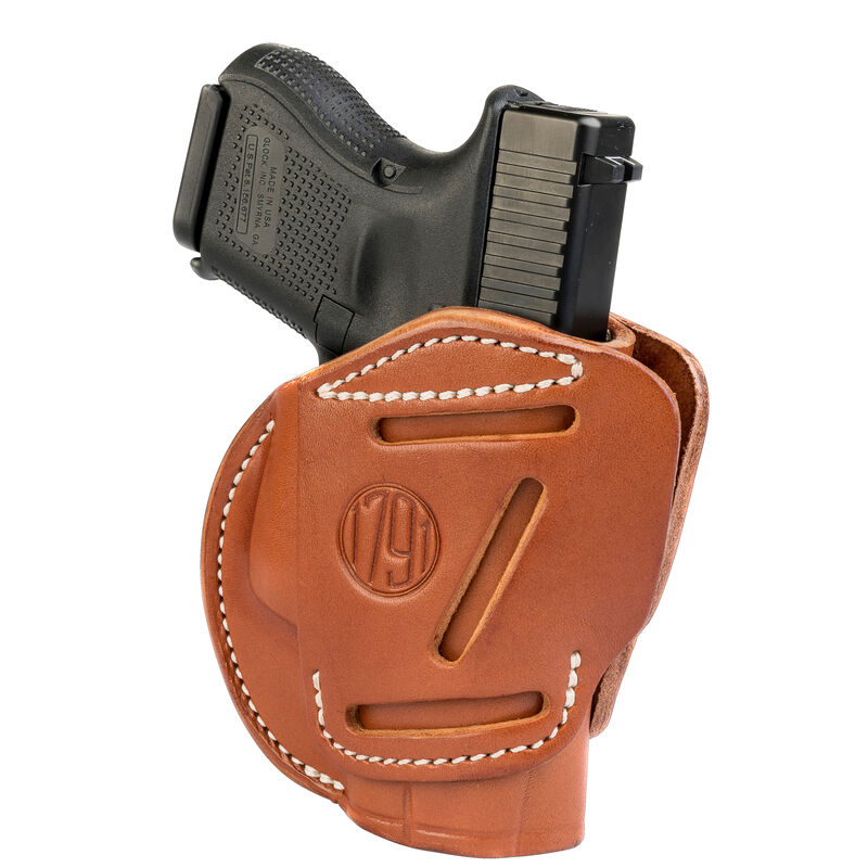 1791 Gunleather 3WH 3 Way Multi-Fit OWB Concealment Holster for 9mm Luger/.40 S&W Sub Compact Semi Auto Models Ambidextrous Draw Leather Classic Brown