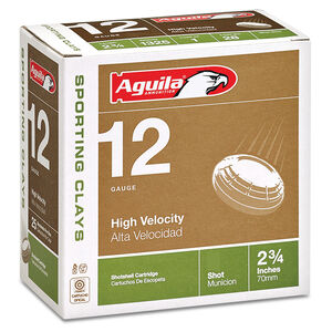 """Aguila Sporting Clays 12 Gauge Ammunition 25 Rounds 2-3/4"""" Length 1-1/8 Ounce #8 Shot 1325fps"""