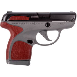 "Taurus Spectrum .380 ACP Semi Auto Pistol 2.8"" Barrel 6 Rounds Gray Polymer Frame with Red Inserts Black Finish"