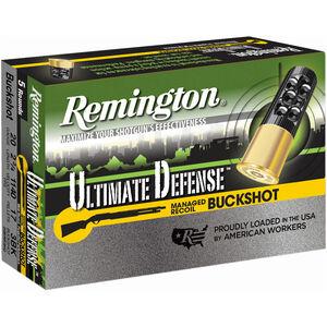 """Remington Ultimate Defense 20 Gauge Ammunition 5 Rounds 2 3/4"""" #3 Buck 17 Pellets 20BRR3HD"""