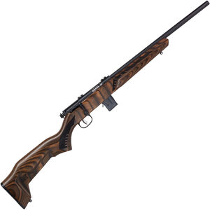 "Savage Model 93R17 Minimalist .17 HMR Bolt Action Rimfire Rifle 18"" Threaded Barrel 10 Rounds Brown Minimalist Laminate Stock Black Finish"