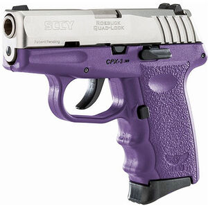 "SCCY CPX-3 .380 ACP Semi Auto Pistol 2.96"" Barrel 10 Rounds No Safety Purple Polymer Frame with Stainless Slide Finish"
