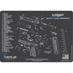 "Cerus Gear S&W M&P Schematic ProMat Handgun Size 12""x17"" Synthetic Grey/Blue"
