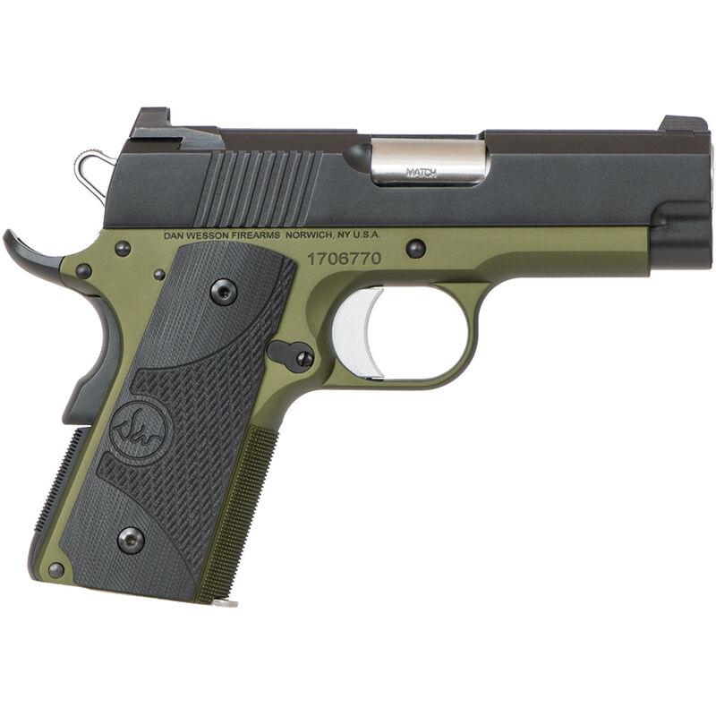"Dan Wesson ECO 1911 Officer .45 ACP Semi Auto Pistol 3.5"" Barrel 7 Rounds Night Sights G10 Grips Black"
