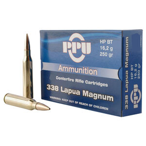 Prvi Partizan PPU .338 Lapua Magnum Ammunition 10 Rounds 250 Grain Hollow Point Boat Tail Projectile 2995fps