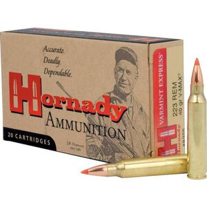 Hornady Varmint Express .223 Remington Ammunition 20 Rounds 40 Grain Hornady V-Max Polymer Tip Projectile 3800fps