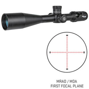 SIG Sauer Tango4 6-24x50 Riflescope Illuminated MOA Milling Reticle 30mm Tube .25 MOA Adjustments Side Parallax Adjustment First Focal Plane CR2032 Battery Black