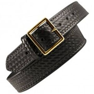 """Boston Leather 6505 Garrison Leather Belt with Lining 38"""" Nickel Buckle Basket Weave Leather 6505L-3-38"""