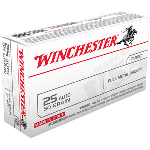 Winchester USA .25 ACP Ammunition 50 Rounds, FMJ, 50 Grains