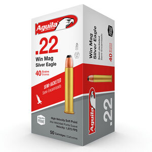 Aguila High Velocity .22 Winchester Magnum Ammunition 50 Rounds 40 Grain Semi-Jacketed Soft Point 1875fps