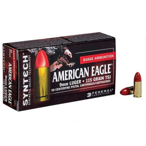 Federal American Eagle 9mm Luger Ammunition 50 Rounds TSJ 115 Grains AE9SJ1