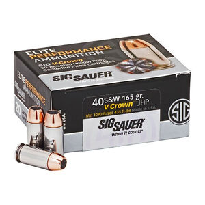 SIG Sauer Elite Performance V-Crown Ammunition 20 Rounds .40 S&W 165 Grain V-Crown Jacketed Hollow Point Projectile 1090fps