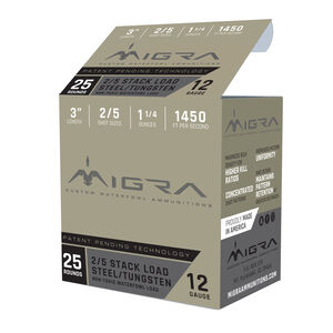 "Migra Ammunition 12 Gauge 3"" #2/5 Steel Shot 1-1/4 oz 1450 fps"