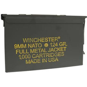 Winchester 9mm NATO Ammunition 1000 Rounds FMJ 124 Grains