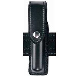 "Safariland Model 38 OC Spray Holder Standard Top Flap 1.5""x4""-4.5"" SafariLaminate Brass Snap Closure High Gloss Black 38-4-9B"