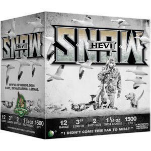 "Hevi-Shot Hevi-Snow 12 Gauge Ammunition 25 Rounds 3"" Shell #2 Steel Shot 1-1/4oz 1500fps"