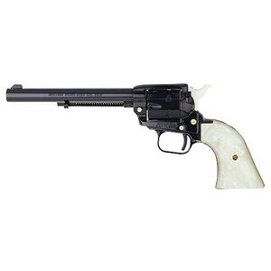 "Heritage Rough Rider Revolver Single Action Army 22LR And 22WMR 6.5"" Barrel Alloy Blue, Pearl Grips 6 Round Fired Case Right Hand 33.4oz Fixed Sights 22MB6PRL"
