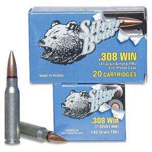 Silver Bear .308 Winchester Ammunition 20 Rounds, FMJ, 145 Grains