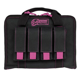 "Voodoo Tactical Pistol Case with Magazine Pouches 12"" x 9"" x 2"" Full Padding Nylon Black Purple"