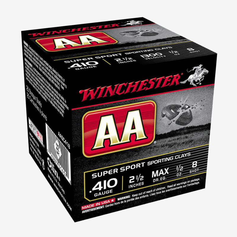 """Winchester AA Sporting Clays Value Pack .410 Gauge Ammunition 100 Rounds 2 1/2"""" #8 1/2 Ounce AASC287VP"""