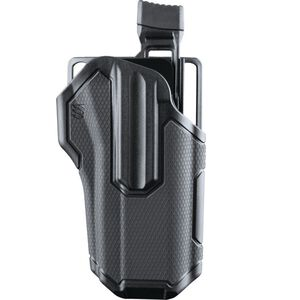 BLACKHAWK! Omnivore Level 2 Multifit Belt Holster Autos With Rail Right Hand Polymer Black 419000BBR