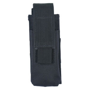 Voodoo Tactical Single Pistol Magazine Pouch Velcro Closure MOLLE Compatible Nylon Matte Black